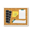 items pinned to corkboard with wood frame vector image vector image
