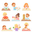 kids do not like vegetables set cute boys and vector image