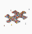 large group people in form jigsaw puzzle vector image