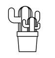 line ecology plants conservation inside flowerpot vector image vector image
