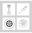 Machine and wheel icon Auto part design vector image vector image