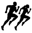 male runner and female runner silhouette vector image