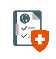 medical insurance icon - clinical chart or vector image vector image