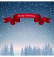 Merry Christmas Landscape in Dark Blue Shades vector image