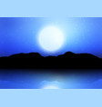 mountain silhouette against a moonlit sky vector image