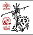 native american indian man with spear tribe vector image