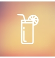 Orange juice glass with drinking straw thin line vector image vector image