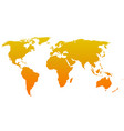 Orange silhouette of world map Simple flat vector image