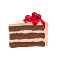 piece of chocolate cake with cream delicious vector image vector image