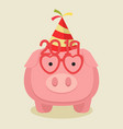 pink pig in a party hat vector image vector image