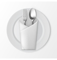 Plate with Silver Fork and Spoon Table Setting vector image vector image