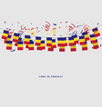 romania garland flag with confetti vector image vector image
