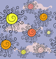 seamless pattern of the suns in the clouds vector image vector image