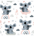seamless pattern with cute koala momm with baby vector image