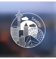 Seattle one line design on blurred background vector image vector image