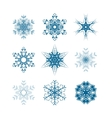 set snowflakes icons isolated on white vector image vector image