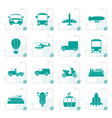stylized transportation and travel icons vector image vector image