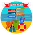 summer holiday direction sign with destination vector image vector image