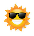 sun with sunglasses isolated white background vector image vector image