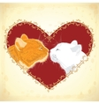 Two beloved cats on the heart shape background vector image vector image