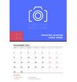 wall calendar planner template for november 2021 vector image vector image