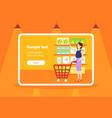woman customer carrying trolley cart choosing food vector image vector image