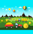 harvesting landscape with hay balls and tractors vector image