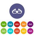 3d glasses icons set color vector image
