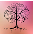 Abstract Black Tree on Violet - Pink - Orang vector image