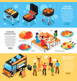 barbecue 3d isometric banners set vector image