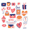 big collection love objects and symbols vector image vector image