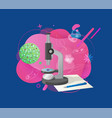 biotechnology research microscope and cell vector image vector image
