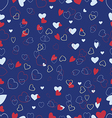 blue background with a variety of hearts vector image
