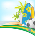 brazil summer background with surfboard and soccer vector image vector image