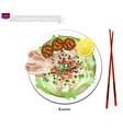 Cambodian Rice Noodle Soup with Pork and Meatballs vector image vector image