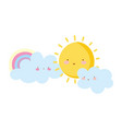 cartoon rainbow clouds and sun isolated icon vector image