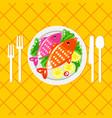 cartoone fish dish vector image vector image