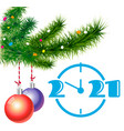 christmas balls hanging from fir tree vector image