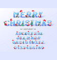 christmas font and alphabet 3d ice letters vector image vector image