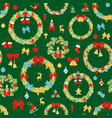 christmas wreath seamless pattern decoration vector image vector image
