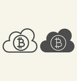 cloud with bitcoin line and glyph icon crypto vector image vector image