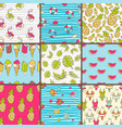 collection of seamless summer patterns bright vector image vector image