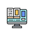 computer monitor with a e-book online education vector image vector image