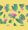 creative flamingo and tropical leaves vector image vector image