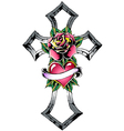 Cross with rose tattoo vector image