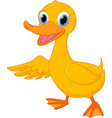 cute duck cartoon presenting vector image vector image