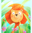 cute funny baby lion in nature safari zoo for kids vector image