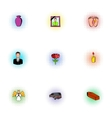 Death of person icons set pop-art style vector image vector image