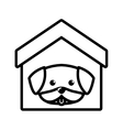 dog cute tongue out house pet outline vector image vector image