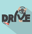 Drive With Steering Wheel In Hand Typography vector image vector image
